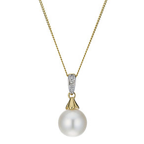 9ct Gold Diamond Set Cultured Freshwater Pearl Drop Pendant - Product number 1766767