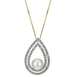 9ct Gold Diamond Set Cultured Freshwater Pearl Pear Pendant - Product number 1766775