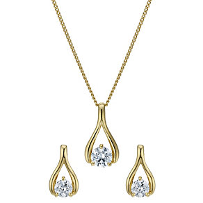 Lumiere 18ct Gold-Plated Wishbone Pendant & Stud Earrings - Product number 1768026