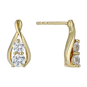Lumiere 18ct Gold-Plated Swarovski Elements Stud Earrings - Product number 1768034