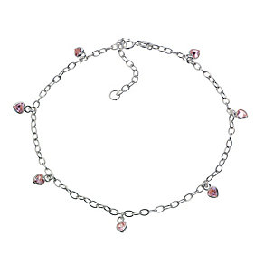 Sterling Silver Pink Cubic Zirconia Multi Heart 10.5