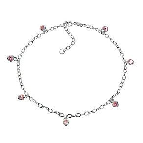 Sterling Silver Pink Cubic Zirconia Multi Heart 10.5