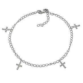 Sterling Silver Cubic Zirconia Hanging Cross 10