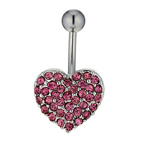 Surgical Steel & Pink Crystal Heart Belly Bar - Product number 1768743