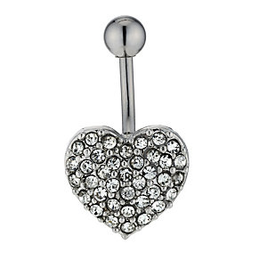 Surgical Steel & Crystal Heart Belly Bar - Product number 1768905