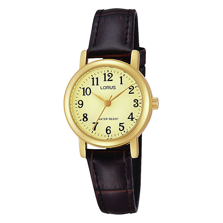 Lorus Ladies' Gold-Plated Brown Leather Strap Watch - Product number 1769111