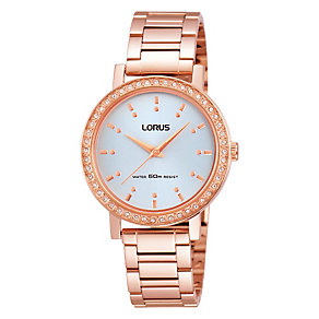 Lorus Ladies' Stone Set Rose Gold-Plated Bracelet Watch - Product number 1769197