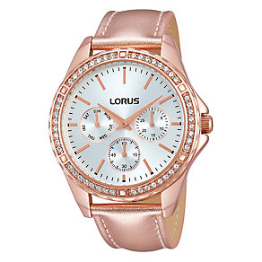 Lorus Ladies' Stone Set Rose Gold Leather Strap Watch - Product number 1769200