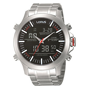 Lorus Men's Dual Display Stainless Steel Bracelet Watch - Product number 1769324