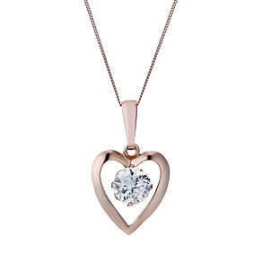 9ct Rose Gold Cubic Zirconia Heart 16