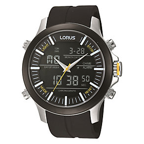 Lorus Men's Dual Display Black Rubber Strap Watch - Product number 1769405