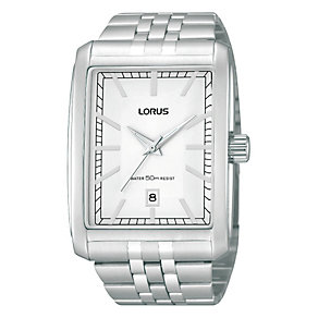 Lorus Men's Rectangular Dial Stainless Steel Bracelet Watch - Product number 1769421