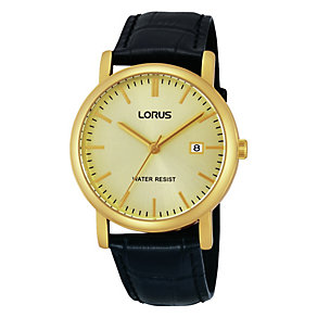 Lorus Men's Gold Dial Gold-Plated Black Leather Strap Watch - Product number 1769472