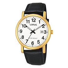 Lorus Men's White Dial Gold-Plated Black Leather Strap Watch - Product number 1769480