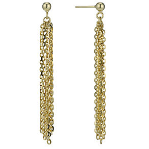 Oxi Colour Sterling Silver Gold-Plated Chain Drop Earrings - Product number 1769693