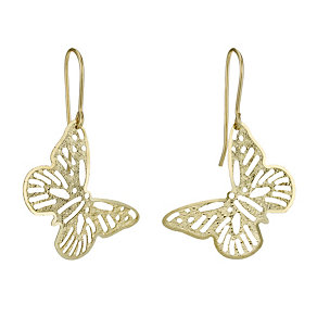 9ct Gold Butterfly Filigree Drop Earrings - Product number 1769774