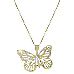 "9ct Gold Filigree Butterfly 18"" Pendant - Product number 1769782"