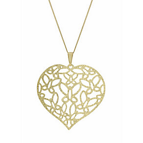 9ct Gold Filigree Heart Butterfly Detail 18