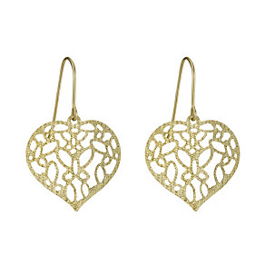 9ct Gold Heart Filigree Drop Earrings - Product number 1769960