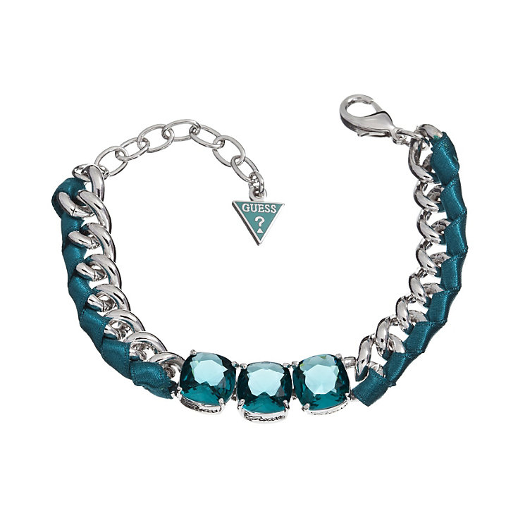 Guess Heatwave Rhodium-Plated Teal Stone & Ribbon Bracelet - Product number 1770942