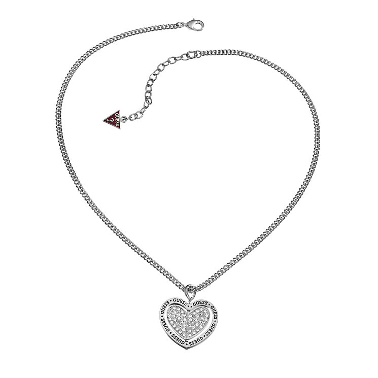 Guess Love Spun Rhodium-Plated Stone Set Heart Pendant - Product number 1770985