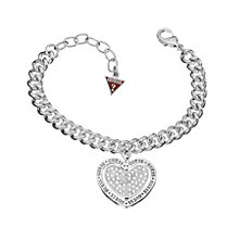 Guess Love Spun Rhodium-Plated Stone Set Heart Bracelet - Product number 1770993
