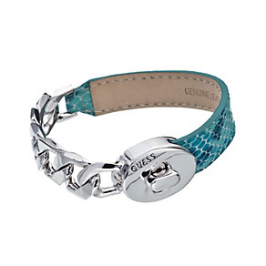 Guess Desert Chic Rhodium-Plated & Teal Leather Bracelet - Product number 1771000