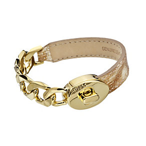 Guess Desert Chic Gold-Plated & Tan Leather Bracelet - Product number 1771019