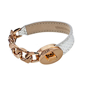 Guess Desert Chic Rose Gold-Plated & White Leather Bracelet - Product number 1771027