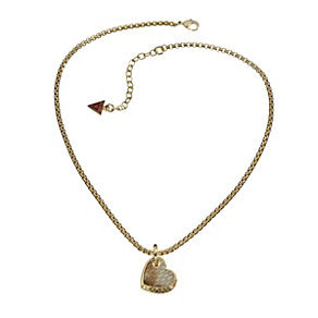 Guess Desert Beauty Gold-Plated Leather Heart Pendant - Product number 1771043