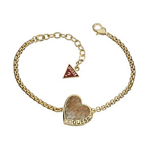 Guess Desert Beauty Gold-Plated Leather Heart Bracelet - Product number 1771086