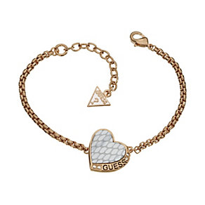 Guess Desert Beauty Rose Gold-Plated Leather Heart Bracelet - Product number 1771094