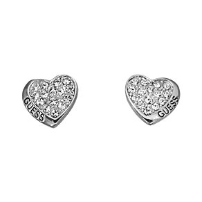 Guess Desert Beauty Rhodium-Plated Heart Stud Earrings - Product number 1771116