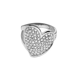 Guess Desert Beauty Rhodium-Plated Stone Set Heart Ring - Product number 1771140