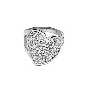 Guess Desert Beauty Rhodium-Plated Stone Set Heart Ring - Product number 1771159