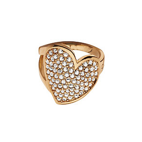 Guess Desert Beauty Rose Gold-Plated Stone Set Heart Ring - Product number 1771167