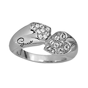 Guess Rings Of Love Rhodium-Plated Stone Set Heart Ring - Product number 1771264