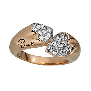 Guess Rings Of Love Rose Gold-Plated Stone Set Heart Ring - Product number 1771272