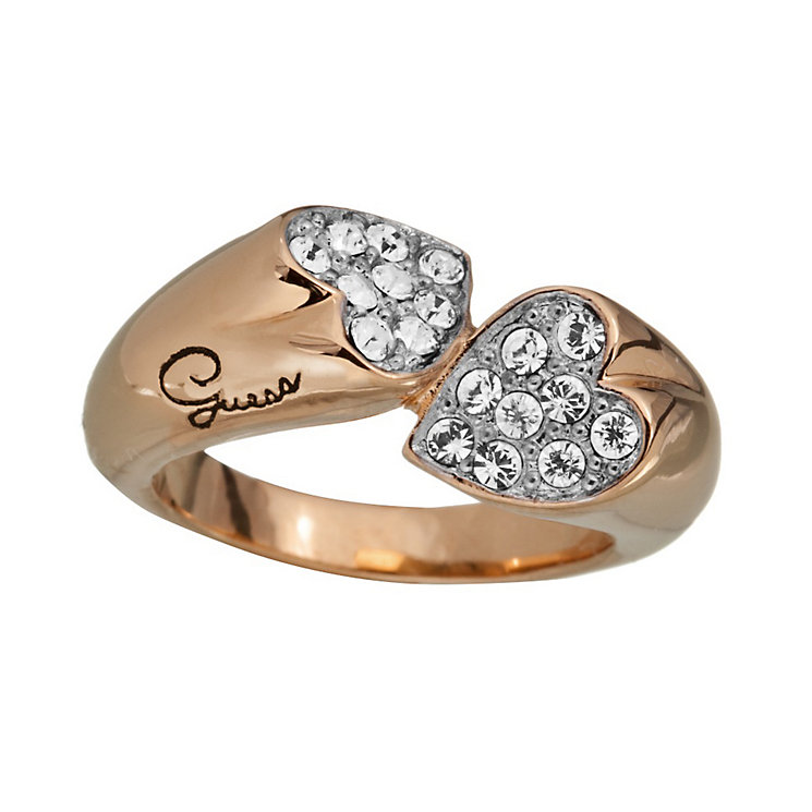 Guess Rings Of Love Rose Gold-Plated Stone Set Heart Ring - Product number 1771280