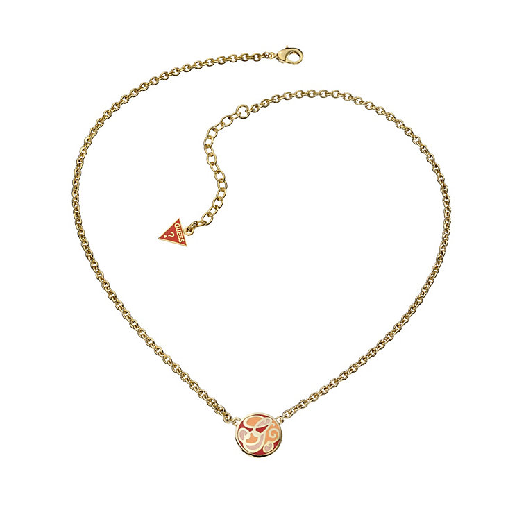 Guess Uptown Girl Coral & Gold Tone G Disc Necklace - Product number 1771299