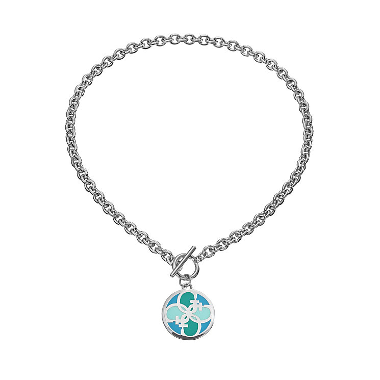 Guess Uptown Girl Rhodium-Plated 4 G Blue Disc Pendant - Product number 1771302