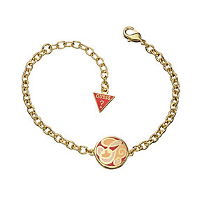 Guess Uptown Girl Coral & Gold Tone G Disc Bracelet - Product number 1771329