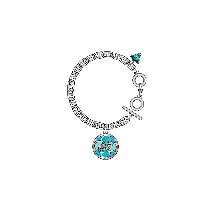 Guess Uptown Girl Rhodium-Plated 4 G Blue Disc Bracelet - Product number 1771337