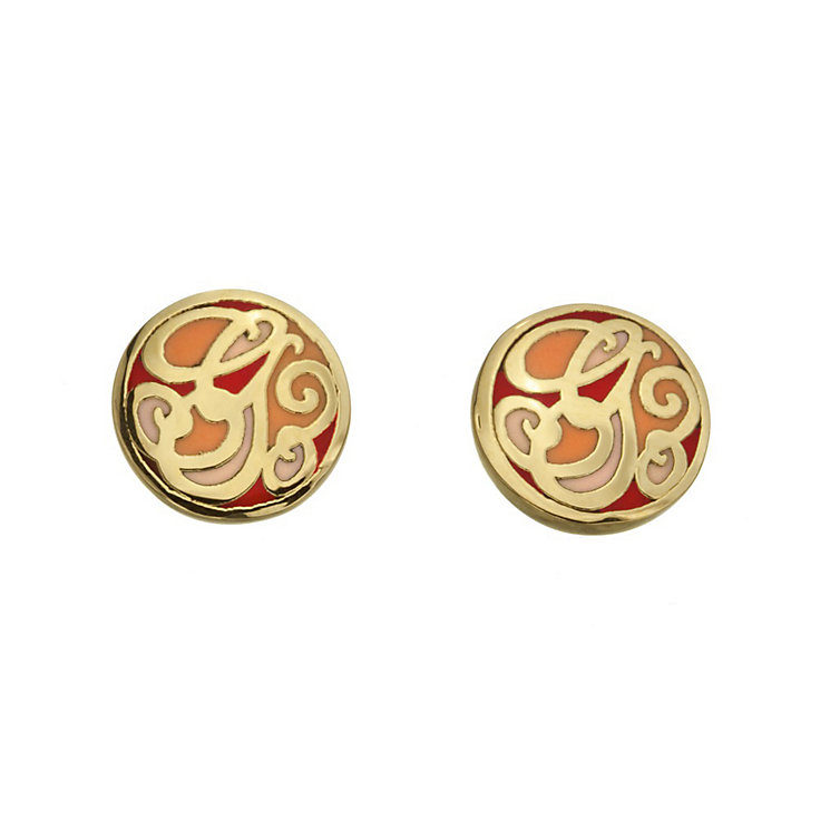 Guess Uptown Girl Gold-Plated Coral G Disc Stud Earrings - Product number 1771396