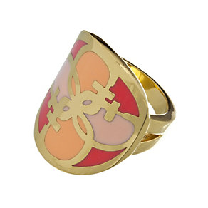 Guess Uptown Girl Gold-Plated Coral & Gold Tone G Disc Ring - Product number 1771426