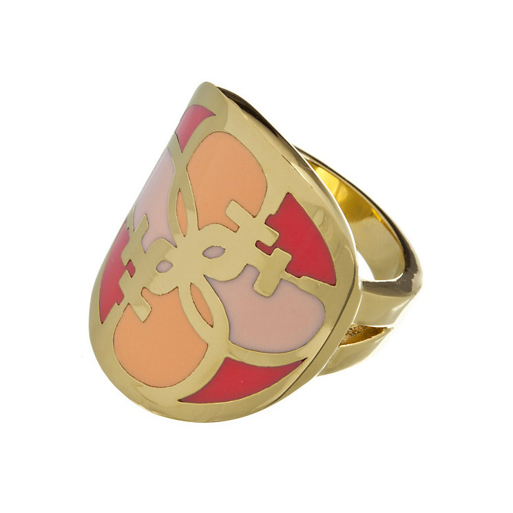Guess Uptown Girl Gold-Plated Coral & Gold Tone G Disc Ring - Product number 1771434