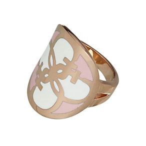 Guess Uptown Girl Rose Gold-Plated White & Rose G Disc Ring - Product number 1771442