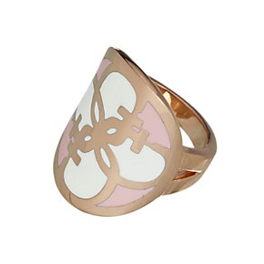 Guess Uptown Girl Rose Gold-Plated White & Rose G Disc Ring - Product number 1771450