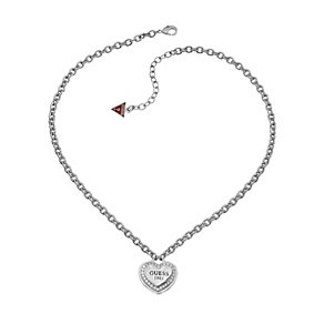 Guess 1981 Collection Rhodium-Plated Stone Set Heart Pendant - Product number 1771469