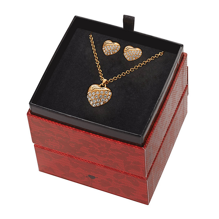 Guess Rose Gold-Plated Heart Pendant & Stud Earrings Set - Product number 1771523